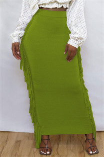 Green Fashion Casual Solid Tassel Regular High Waist Skirt