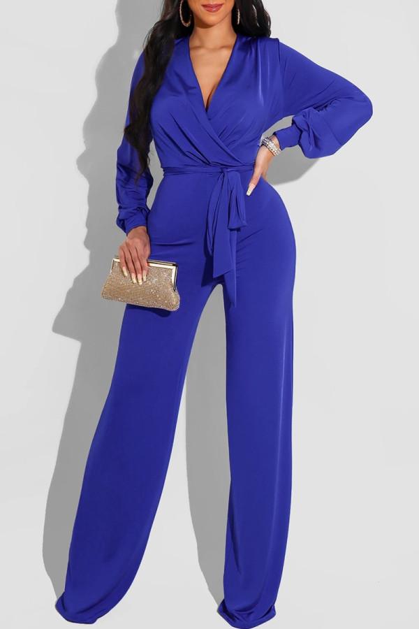 Blue Fashion Casual Solid Frenulum V Neck Regular Jumpsuits