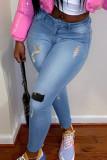 Blue Fashion Street Patchwork Ripped Denim Jeans