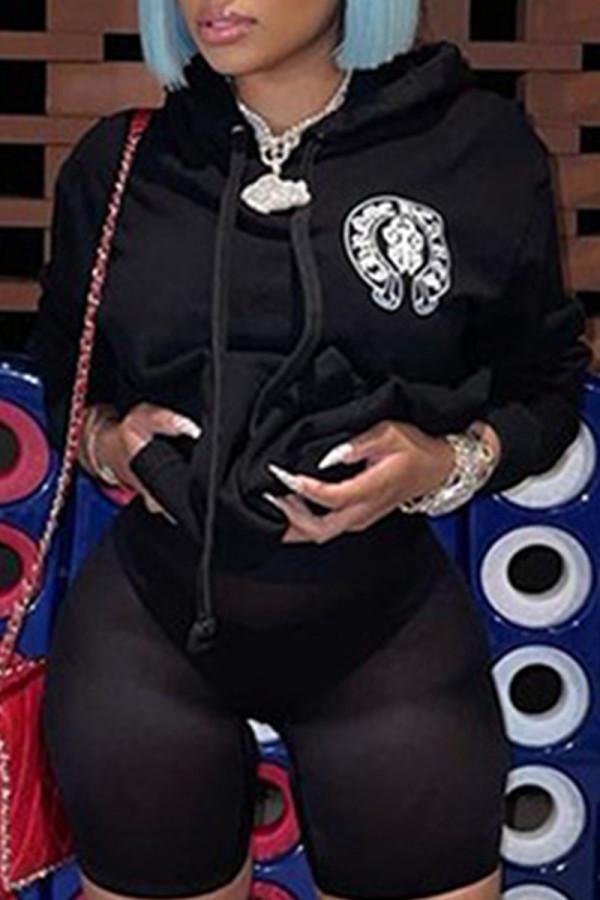 Black Fashion Street Print Split Joint Hooded Collar Tops