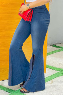 Blue Fashion Street Solid Slit Plus Size Jeans