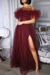 Burgundy Sweet Elegant Solid Split Joint Off the Shoulder Strapless Dress Plus Size Dresses
