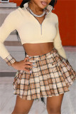 Beige Fashion Casual Plaid Print Split Joint Zipper Collar Long Sleeve Two Pieces