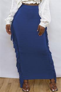 Blue Fashion Casual Solid Tassel Regular High Waist Skirt