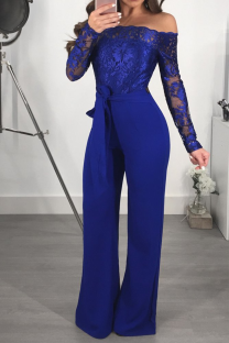 Blue Sexy Solid Lace Off the Shoulder Boot Cut Jumpsuits