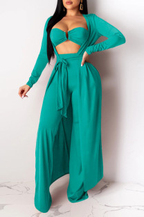 Lake Green Sexy Solid Split Joint Strapless Long Sleeve Three Pieces