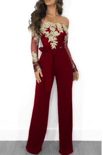 Burgundy Sexy Solid Lace Off the Shoulder Boot Cut Jumpsuits