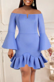 Sky Blue Fashion Sexy Solid Flounce Off the Shoulder Long Sleeve Dresses