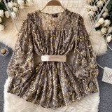 Yellow Sexy Print Lace Split Joint V Neck Tops