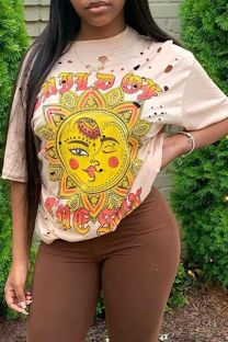 Apricot Casual Print Split Joint O Neck T-Shirts