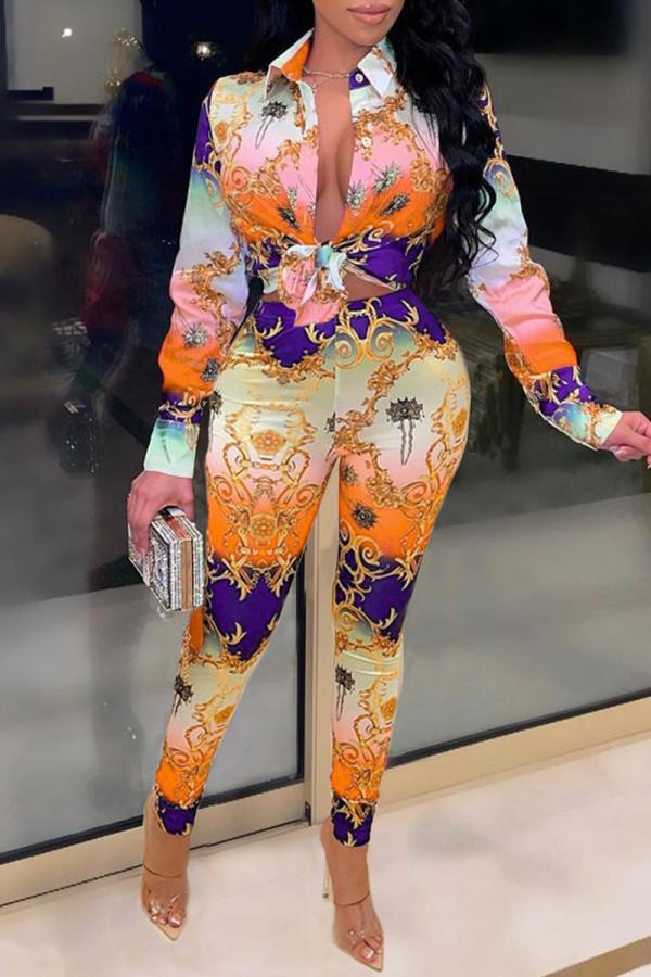 Orange Fashion Casual Print Basic Turndown Collar Long Sleeve Two Pieces