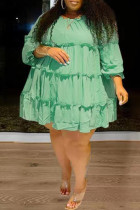 Light Green Fashion Casual Solid Split Joint O Neck Long Sleeve Plus Size Dresses