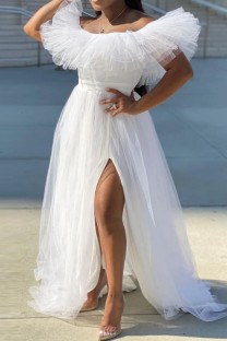 White Sweet Elegant Solid Split Joint Off the Shoulder Strapless Dress Plus Size Dresses