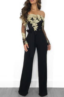Black Gold Sexy Solid Lace Off the Shoulder Boot Cut Jumpsuits