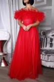 Rose Red Sweet Elegant Solid Split Joint Off the Shoulder Strapless Dress Plus Size Dresses