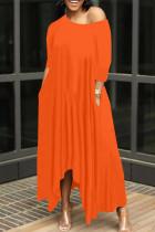 Tangerine Red Casual Solid Split Joint Asymmetrical O Neck Irregular Dress Dresses