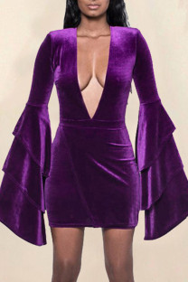 Purple Sexy Solid Split Joint V Neck One Step Skirt Dresses