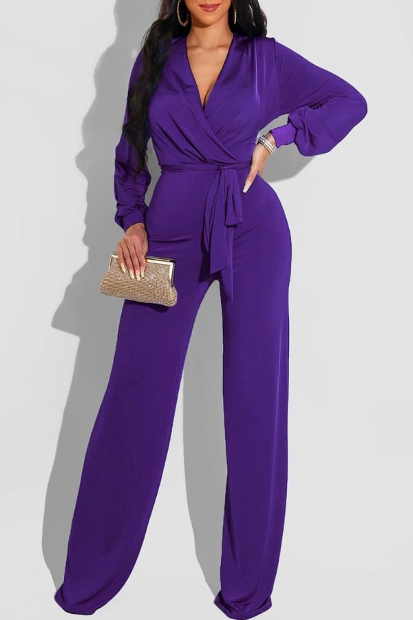 Purple Fashion Casual Solid Frenulum V Neck Regular Jumpsuits