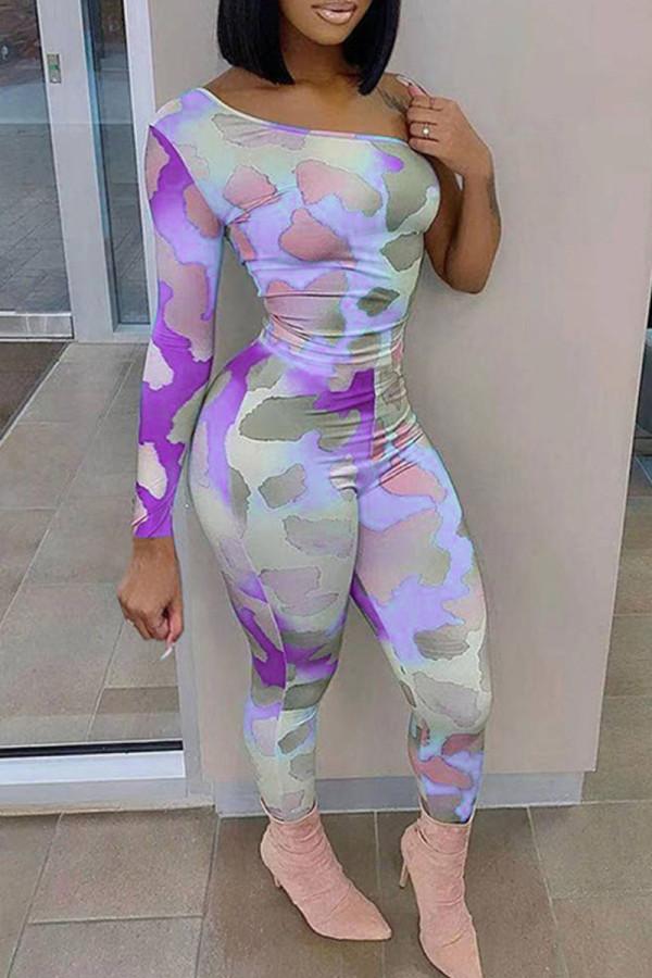 Purple Sexy Print Split Joint Oblique Collar Regular Jumpsuits