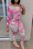 Rose Red Sexy Print Split Joint Oblique Collar Regular Jumpsuits