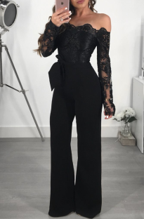 Black Sexy Solid Lace Off the Shoulder Boot Cut Jumpsuits