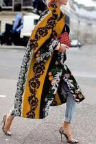 Black Yellow Street Camouflage Print Split Joint Turndown Collar Outerwear
