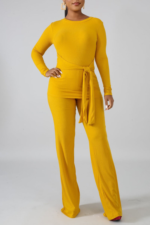 Yellow Casual Solid Bandage Split Joint O Neck Long Sleeve Two Pieces