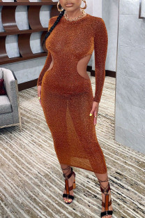 Brown Sexy Solid Hollowed Out Split Joint O Neck One Step Skirt Dresses