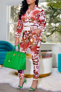 Red Casual Print Split Joint Zipper Collar Long Sleeve Two Pieces