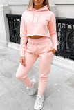 Pink Casual Solid Split Joint Hooded Collar Long Sleeve Two Pieces