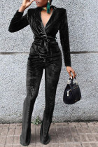 Black Casual Solid Split Joint Turn-back Collar Long Sleeve Two Pieces