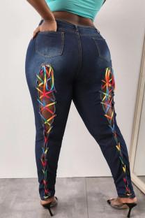 Deep Blue Fashion Casual Solid Frenulum Plus Size Jeans