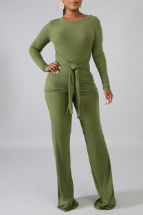 Green Casual Solid Bandage Split Joint O Neck Long Sleeve Two Pieces