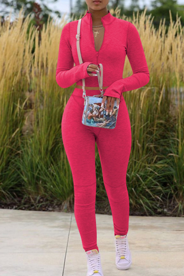 Rose Red Fashion Casual Solid Basic Zipper Collar Long Sleeve Two Pieces