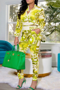 Yellow Casual Print Split Joint Zipper Collar Long Sleeve Two Pieces