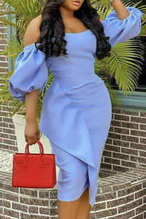 Sky Blue Fashion Elegant Solid Split Joint Strapless One Step Skirt Dresses