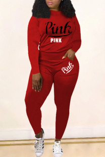 Red Fashion Casual Letter Print Basic O Neck Long Sleeve Two Pieces