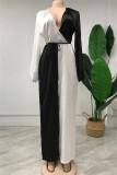 Black Fashion Casual Patchwork Hollowed Out V Neck Regular Jumpsuits (Without Belt)