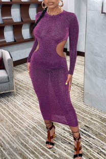 Purple Sexy Solid Hollowed Out Split Joint O Neck One Step Skirt Dresses