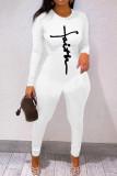 Coffee Fashion Casual Print Basic O Neck Skinny Jumpsuits