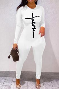 White Fashion Casual Print Basic O Neck Skinny Jumpsuits