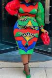 Multicolor Fashion Street Print Split Joint O Neck Plus Size Two Pieces