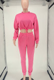 Rose Red Casual Solid Split Joint Draw String O Neck Long Sleeve Two Pieces