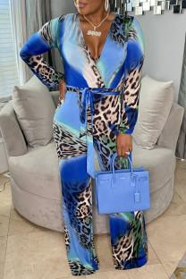 Blue Fashion Casual Print Basic V Neck Regular Jumpsuits