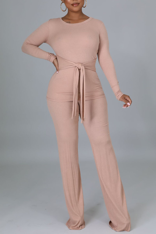 Pink Casual Solid Bandage Split Joint O Neck Long Sleeve Two Pieces