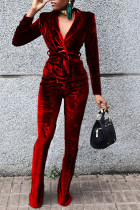 Red Casual Solid Split Joint Turn-back Collar Long Sleeve Two Pieces