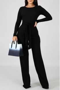 Black Casual Solid Bandage Split Joint O Neck Long Sleeve Two Pieces