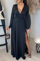 Black Fashion Casual Solid Slit V Neck Long Sleeve Dresses