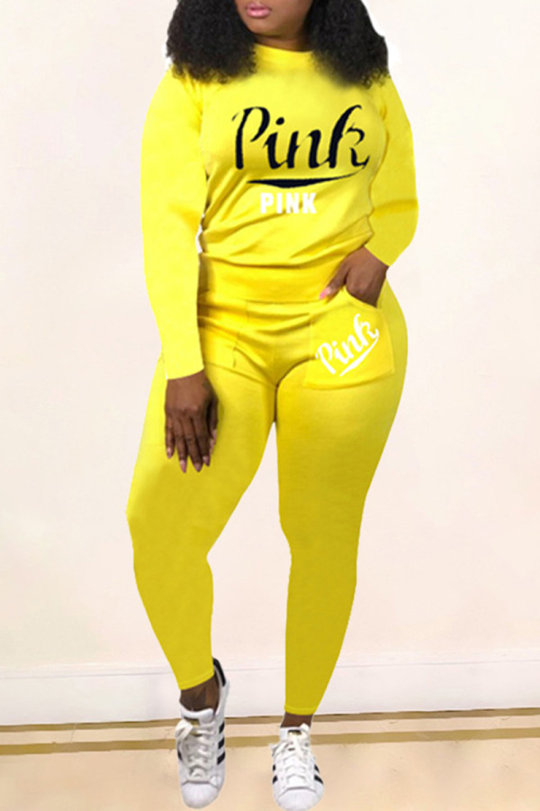 Yellow Fashion Casual Letter Print Basic O Neck Long Sleeve Two Pieces