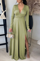 Green Fashion Casual Solid Slit V Neck Long Sleeve Dresses